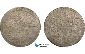 AB605, Ottoman Empire, Turkey, Mahmud I, Kurus AH1143, Kostantiniye (Istanbul) Silver (23.16g) Toned VF-XF