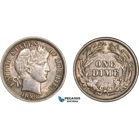 AB606, United States, Barber Dime (10C) 1898, Philadelphia, Silver, Toned XF-AU