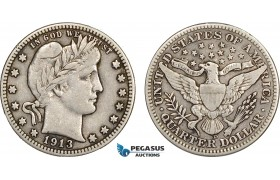 AB607, United States, Barber Quarter (25C) 1913-D, Denver, Silver, Cleaned VF