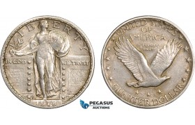 AB608, United Sates, Standing Liberty Quarter (25C) 1918-S, San Francisco, Silver, Toned AU