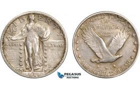 AB608, United Sates, Standing Liberty Quarter (25C) 1918-S, San Francisco, Silver, Toned AU