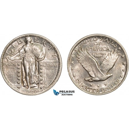 AB609, United Sates, Standing Liberty Quarter (25C) 1920, Philadelphia, Silver, Lustrous AU-UNC