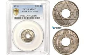 AB610, British West Africa, George V, 1/10 Penny 1931, London, PCGS MS67, Pop 1/0