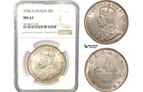 AB611, Canada, George V, Dollar 1936, Silver, NGC MS62