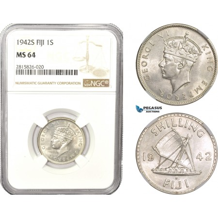 AB613, Fiji, George VI, 1 Shilling 1942-S, San Francisco, Silver, NGC MS64