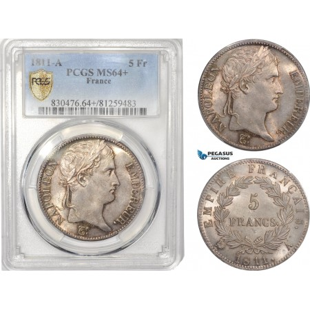 AB614, France, Napoleon, 5 Francs 1811-A, Paris, Silver, PCGS MS64+, Pop 1/1, Rare Grade!
