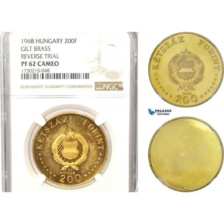 AB616, Hungary, Gilt Brass Reverse Trial of 200 Forint 1968, Budapest, NGC PF62, Rare!