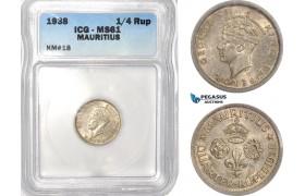 AB617, Mauritius, George VI, 1/4 Rupee 1938, Silver, ICG MS61