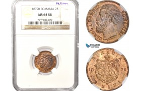 AB618, Romania, Carol I, 2 Bani 1879-B, Bucharest, Ø19.5mm, NGC MS64RB