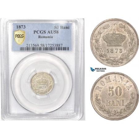 AB622, Romania, Carol I, 50 Bani 1873, Brussels, Silver, PCGS AU58