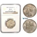 AB624, Romania, Carol I, 2 Lei 1881-V, Vienna, Silver, NGC MS63
