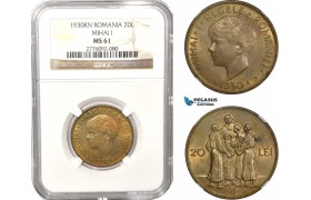 AB626, Romania, Mihai I, 20 Lei 1930 KN, Kings Norton, NGC MS61