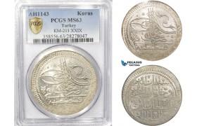 AB629, Ottoman Empire, Turkey, Mahmud I, Kurus AH1143, Kostantiniye (Istanbul) PCGS MS63, Rare Grade!