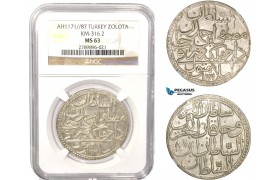 AB630, Ottoman Empire, Turkey, Mustafa III, Zolota AH1171/87, Islambul (Istanbul) NGC MS63