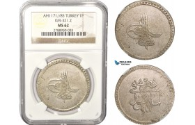 AB631, Ottoman Empire, Turkey, Mustafa III, Piastre AH1171/85, Islambul (Istanbul) NGC MS62, Rare Grade!