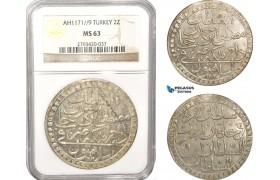 AB632, Ottoman Empire, Turkey, Mustafa III, 2 Zolota AH1171/9, Islambul (Istanbul) NGC MS63