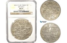 AB633, Ottoman Empire, Turkey, Mustafa III, 2 Zolota AH1171/81, Islambul (Istanbul) NGC MS64