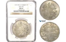 AB634, Ottoman Empire, Turkey, Abdülhamid I, Piastre AH1187/3, Qustantiniye (Istanbul) NGC MS63