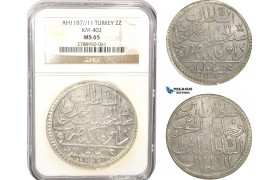 AB637, Ottoman Empire, Turkey, Abdülhamid I, 2 Zolota AH1187/11, Islambul (Istanbul) NGC MS65, Pop 1/0, Rare Grade!