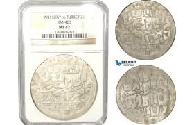 AB640, Ottoman Empire, Turkey, Abdülhamid I, 2 Zolota AH1187/16, Islambul (Istanbul) NGC MS62