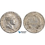 AB644, France, Napoleon, 1 Franc 1808-W, Lille, SIlver, aXF