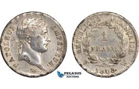 AB644, France, Napoleon, 1 Franc 1808-W, Lille, SIlver, aXF