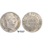 AB645, France, Napoleon, 5 Francs 1811-M, Toulouse, Silver, Cleaned AU