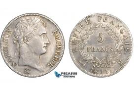 AB645, France, Napoleon, 5 Francs 1811-M, Toulouse, Silver, Cleaned AU