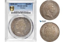 AB647, Sweden, Carl XIV, 1 Riksdaler 1838, Stockholm, Silver, PCGS AU58