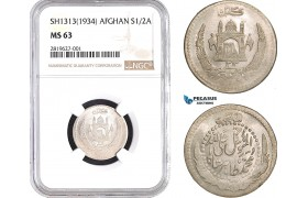 AB650, Afghanistan, Muhammed Zahir Shah, 1/2 Afghani SH1313 (1934) Silver, NGC MS63