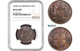 AB656, British North Borneo, 1 Cent 1890-H, Heaton, NGC MS64BN