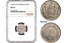 AB658, British North Borneo, 1 Cent 1935-H, Heaton, NGC MS62