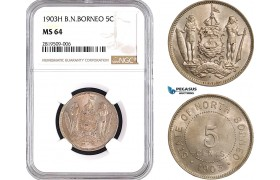 AB659, British North Borneo, 5 Cents 1903-H, Heaton, NGC MS64