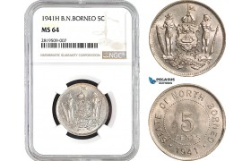 AB660, British North Borneo, 5 Cents 1941-H, Heaton, NGC MS64