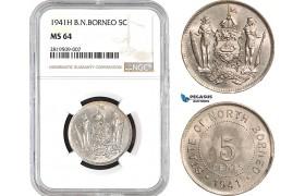 AB660, British North Borneo, 5 Cents 1941-H, Heaton, NGC MS64