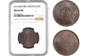 AB661, Brunei, Sultan Hashim Jalal, 1 Cent AH1304 (1887) NGC MS62BN