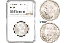 AB662, Bulgaria, Boris III, 50 Leva 1930-BP, Budapest, Silver, NGC MS61