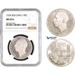 AB663, Bulgaria, Boris III, 100 Leva 1934, Silver, NGC MS63★