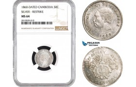AB665, Cambodia, Norodom I, 50 Centimes 1860, Phnom Penh, Silver, NGC MS64, Pop 3/1