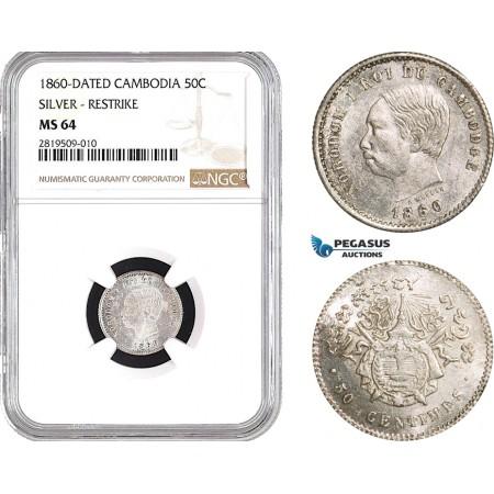 AB665, Cambodia, Norodom I, 50 Centimes 1860, Phnom Penh, Silver, NGC MS64, Pop 3/1