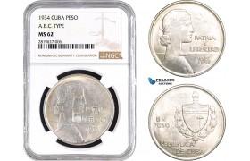 "AB668, Cuba, ""ABC"" Peso 1934, Philadelphia, Silver, NGC MS62"
