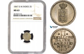 AB669-R, Danish West Indies, 2 Skilling 1847, Silver, NGC MS63