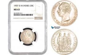 AB671, Danish West Indies, Frederik VIII, 20 Cents / Franc 1907, Copenhagen, Silver, NGC MS63