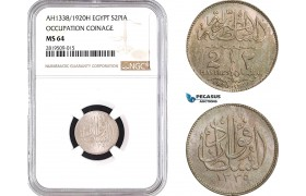 AB675, Egypt, Fuad, 2 Piastres AH1338 / 1920-H, Heaton, NGC MS64
