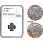 AB678-R, France, Napoleon III, 1 Centime 1862-K, Bordeaux, NGC MS63BN