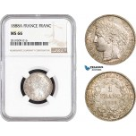 AB681, France, Third Republic, 1 Franc 1888-A, Paris, Silver, NGC MS66, Pop 10/0