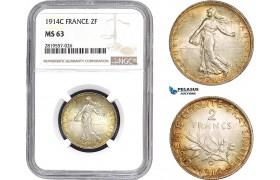 AB683-R, France, Third Republic, 2 Francs 1914-C, Castelsarrasin, Silver, NGC MS63
