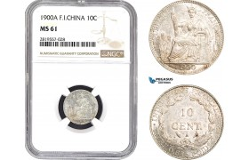 AB685-R, French Indo-China, 10 Centimes 1900-A, Paris, Silver, NGC MS61