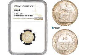 AB686-R, French Indo-China, 10 Centimes 1900-A, Paris, Silver, NGC MS63