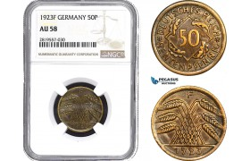 AB688-R, Germany, Weimar, 50 Rentenpfennig 1923-F, Stuttgart, NGC AU58
